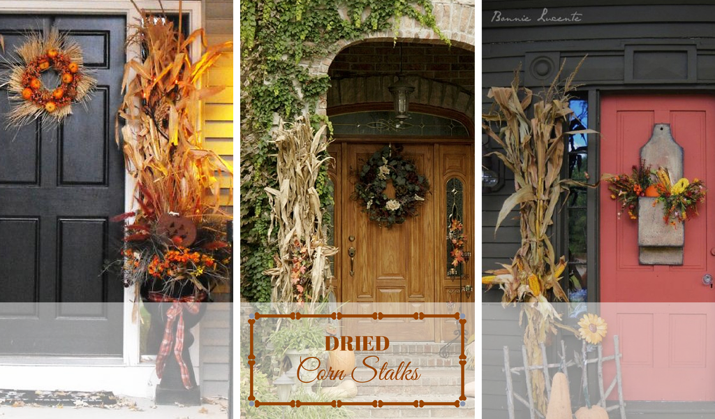 Fall Front Door Ideas - Corn Stalks