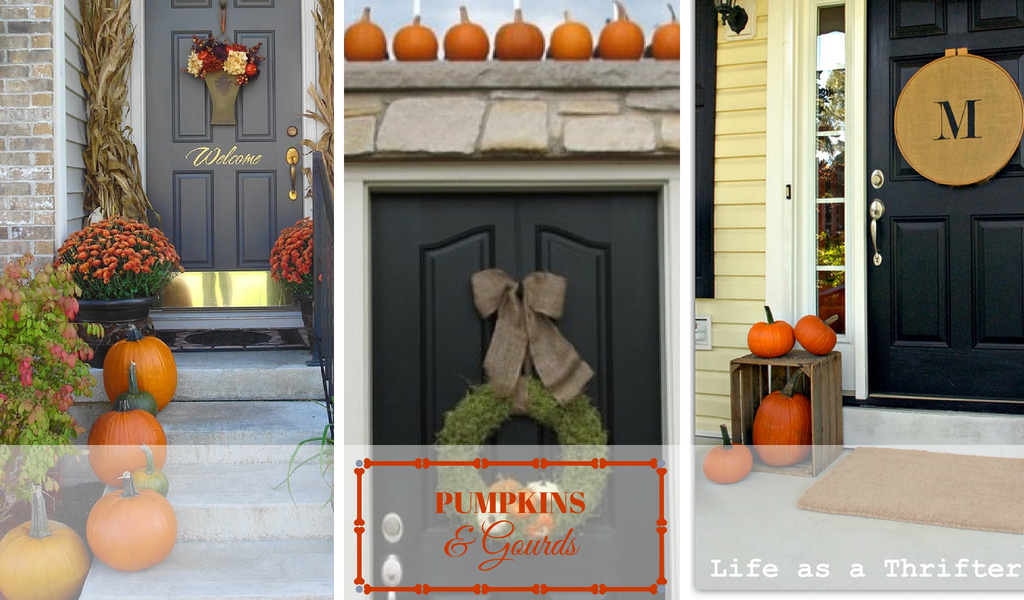 Front Door Ideas - Pumpkins and Gourds